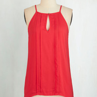 Mid-length Spaghetti Straps Style a Minute Top in Crimson