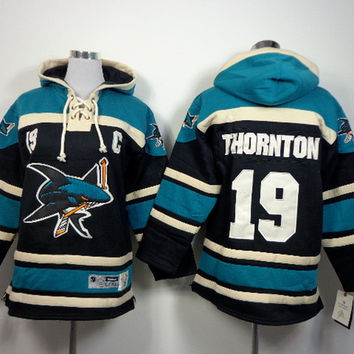 Cheap Youth San Jose Sharks Ice Hockey Hoody 19 Joe Thornton Ice Hockey Hoodies/Hooded Sweatshirt size S-XL