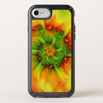 Hot Summer Green Orange Abstract Fractal Monogram Speck iPhone Case