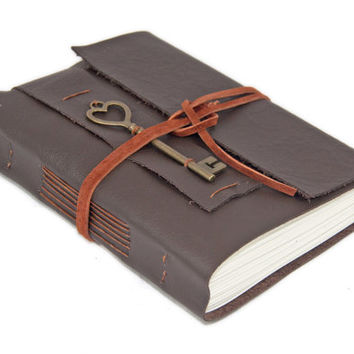 Dark Brown Leather Journal with Heart Key Bookmark - Ready to ship -