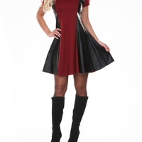 Short Sleeve Burgundy With Leather Panel Dress