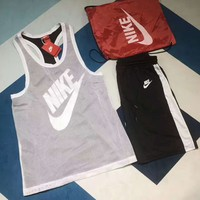 NIKE Fashion Casual Logo  Print Sport Two Short Sleeve Shorts Two Piece G-A-XYCL