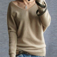 Size S-XXL Fashion Women Long Sleeve V neck Casual Thin Tops Shirt Blouse Pullover Knitted = 1920233028