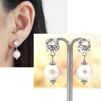 Pierced Look! Swarovski Crystals & White Cotton Pearl Invisible Clip on Earrings, Wedding Pearl Clip-on Earrings, Bridal Clip Earrings