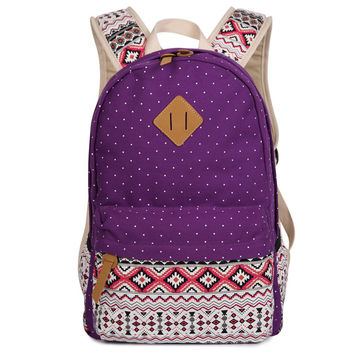 Polka Dot Floral Print Classic Backpack School Travel Bag