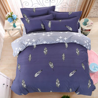 LUCKY TEXTILE bedding set feather king blue duvet cover bed sheet queen full modren bedding adult grid stripe bed set five size