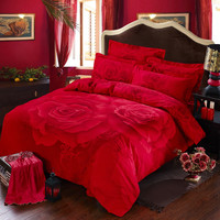 Red Rose Printed Romantic Bedding Sets | EBeddingSets