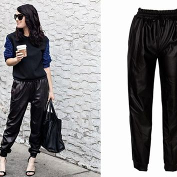 Heroprose Black Faux Leather Joggers (希普路诗)