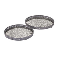Myers Glass and Metal Trays- Set of 2