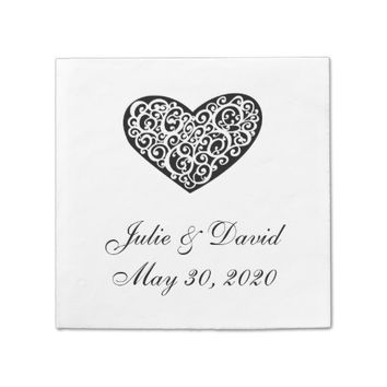 Black and White Heart Wedding Napkins