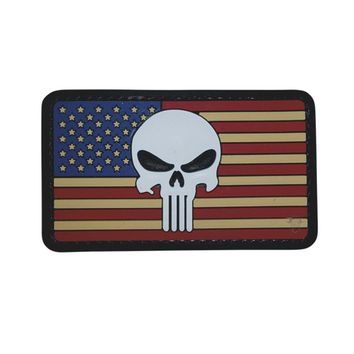 "5ive Star Gear Vintage American Flag Punisher Skull PVC Morale Patch, 2"" x 3.25"""