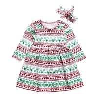 Toddler Kid Baby Girl Clothing Dress Christmas Costume Long Sleeve Tutu Dresses Headband Outfit Girls