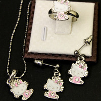 Brand new Hello Kitty Necklace, Earrings and Ring Matching SET