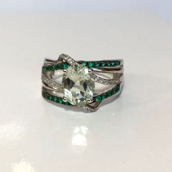 Vintage Jewelry Ring / Green Quartz Topaz Ring / Emerald Sapphire Sterling Silver / Gemstone Ring / Antique Jewelry / Estate Jewelry Ring