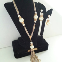 Tassle Necklace Earring Set Demi Parure Faux Pearl Multi Strand 1960s Vintage Mid Century Statement Collectible High End Costume Jewelry