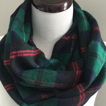 Navy and Green Plaid Infinity Scarf, Green Scarf, Navy Flannel Scarf