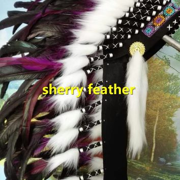 28inch purple Indian Feather headdress handmade chief war bonnet halloween american costume dancewear supply