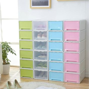 Creative Plastic Storage Bins Drawers Transparent Shoe Box Single Modular Drawers Storage Box Case Storage Lockers Saving Space