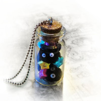 Soot spirits in a bottle necklace, Spirited Away Hayao Miyazaki inspired
