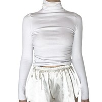Ribbed Roll Neck Long Sleeve Top