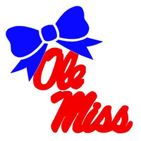 """Ole Miss with Bow Decal for Laptop, Tablet, Notebook, Car - Choose 3"""", 4"""", 5"""" or 6"""" - Choose Ole Miss Color & Bow Color"""