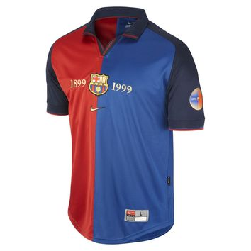 KUYOU 1999-2000 Barcelona Home 100 Year Anniversary Jersey Shirt Retro Personalized Name and Number