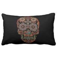 Flower Sugar Skull Lumbar Pillow