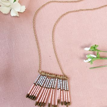 Long Gold Beaded Tassel Necklace- Pink