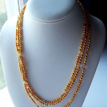 Pearl Necklace, Mom Sister Grandmother Jewelry Gift, Long, Flapper, Orange Peach Gold, Cocktail