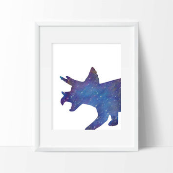 Dinosaur Galaxy Art Print - Children's Wall Art - Toddler Room Decor - Dinosaur Art