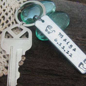 NEW BABY GIFT Key Fob Key Chain Hand Stamped Great Gift Idea for Baby Shower for New Mom Mother Dad Present Topper