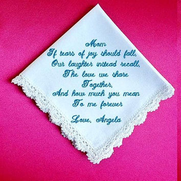 Mother of the  Bride  Heirloom Embroidered, Personalized Hanky, Gift, Handkerchief  Gift Box Included