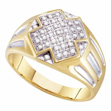 10kt Yellow Two-tone Gold Mens Round Diamond Cross Cluster Ring 1/4 Cttw