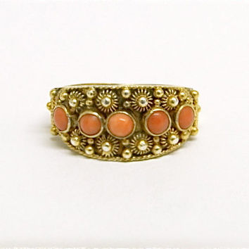 Angelskin coral band ring. Chinese export. Silver gilt. Filigree