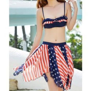 Stylish Spaghetti Strap Star Print Striped Three-Piece Swimsuit For Women