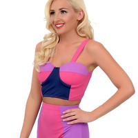 Kingdom & State 1960s Style Mod Pink, Purple & Navy Color Block Bombshell Balconette Swim Top