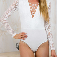 Crisscross Long Sleeve Lace Bodysuit