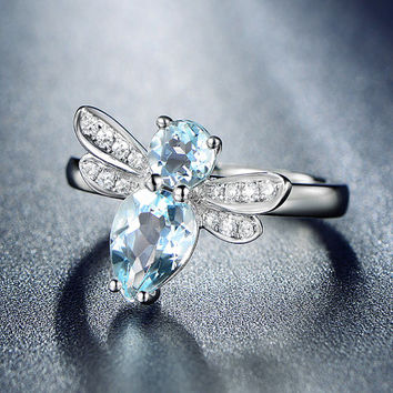 UNIQUE Design!1.35ctw Aquamarine Engagement ring,VS Diamond wedding band,14K Gold,Gemstone Promise Ring,Bridal Ring,IF Blue Aquamarine,Bee