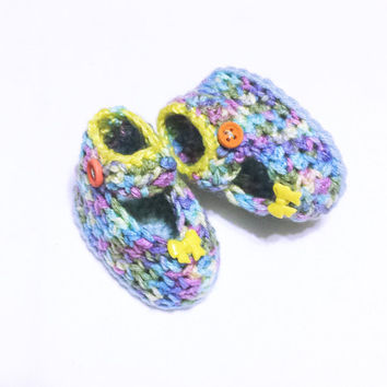 Crochet Baby Shoes, Baby Crochet Slippers, Newborn Crib Shoes, Baby Girl Loafers, Baby Ballerina, Infant Girl Sandals, Baby Bow Shoes