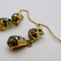 Antique Vintage Victorian Moss Agate Dangle Drop Earrings 9 ct 375 Solid Gold European Hallmarks