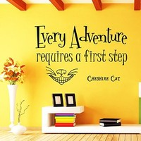 Wall Decals Quotes Alice in Wonderland - Every Adventure Requires a First Step - Cheshire Cat Sayings Quote Smile Cat Kids Boys Girls Nursery Baby Room Wall Vinyl Decal Stickers Bedroom Murals