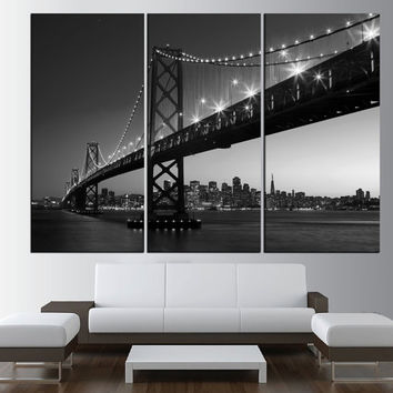 Black and white Golden Gate Bridge in San Francisco wall art canvas, extra large wall art print canvas, San Francisco skyline wall art t470