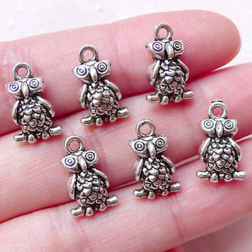 Tiny Owl Charms 3D Bird Charm (6pcs / 9mm x 14mm / Tibetan Silver) Cute Bangle Anklet Pendant Necklace Bracelet Earrings Zipper Pull CHM1489