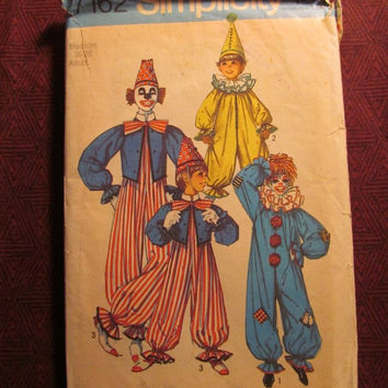 Sale Uncut Simplicity Sewing pattern, 7162! Adults 36-38 Medium/Women's/Men's/Clown Costumes/Halloween Costumes/Jumpsuits/Pointed Hats