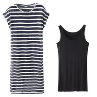 Top Tank and Short Sleeve Striped Round Neck Dress Set