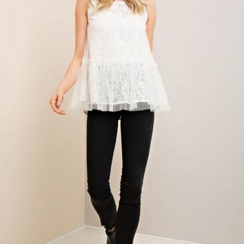 Mesh and Lace Contrast Peplum Top
