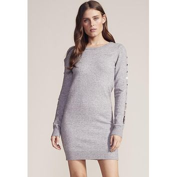 BB Dakota - Button or Nothing Heather Grey Sweater Mini Dress