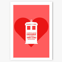 Valentine Card  Doctor Who themed with TARDIS and by aCuriousCat