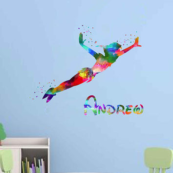 kcik2004 Full Color Wall decal Watercolor Character Disney Peter Pan boy Sticker Disney children's room boy name personalized Child's name
