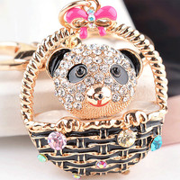 Unique Panda Basket Cystal Key chain Fashion Metal Keychains Ring Holder Bag Charm